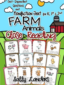 Cuttin' It Close! FARM Animals Close Reading Pack {Kindergarten, 1st & 2nd}