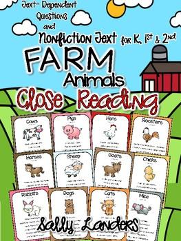 Cuttin' It Close! FARM Animals Close Reading Pack {Kinderg