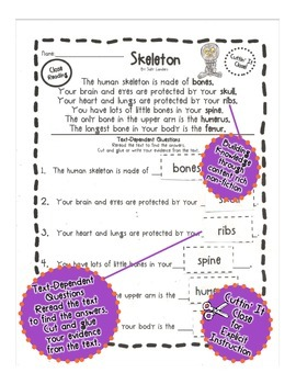 Cuttin' It Close! FREEBIE! Skeleton Close Read {Kindergarten, 1st & 2nd Grade}