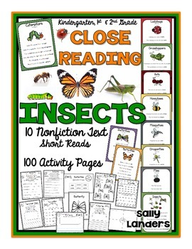 Cuttin' It Close! INSECTS Close Reading Pack {Kindergarten