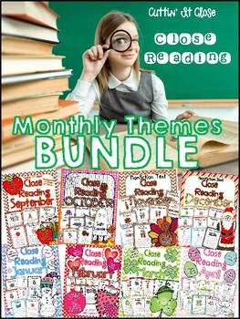 Cuttin' It Close! Monthly Close Reading BUNDLE {Kindergarten, 1st & 2nd Grade}