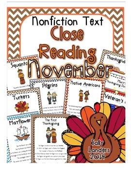 Cuttin' It Close! November Close Reading Pack {Kindergarten, 1st & 2nd Grade}