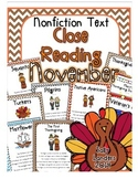 Cuttin' It Close! November Close Reading Pack {Kindergarten, 1st & 2nd Grade}