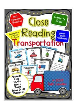 Cuttin' It Close! Transportation Close Reading Pack {K, 1s