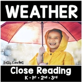 Cuttin' It Close! WEATHER Close Reading Pack  {K, 1st, 2nd & 3rd Grade}