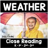 Cuttin' It Close! WEATHER Close Reading Pack  {K, 1st, 2nd