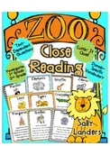 Cuttin' It Close! Zoo Animals Close Reading Pack {Kindergarten, 1st & 2nd Grade}