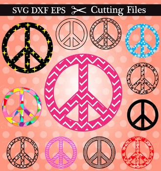 Cutting Files -11 Peace Signs Pattern (025C)