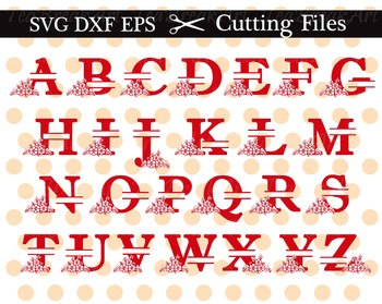Cutting Files -Split Flower Letters Monogram - Digital Clip art(008C)