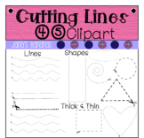 45 Cutting Lines & Shapes Template Clipart {For Commercial or Personal Use}