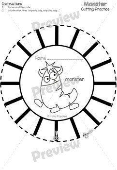 Cutting Practice Worksheets - Space, Dinosaurs & Monsters
