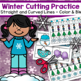 Winter Cutting Practice Skills Straight and Curved Lines Color and BW