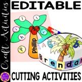Cutting Practice   Scissor Skills   Coconut Tree Hat Name