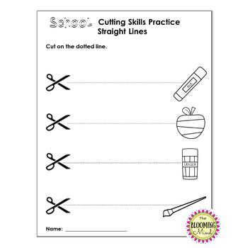Cutting Practice Scissor Skills Worksheets {Back To School September Theme}