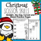 Cutting Practice Scissor Skills Worksheets {Christmas}