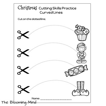 Cutting Practice Scissor Skills Worksheets Christmas By The