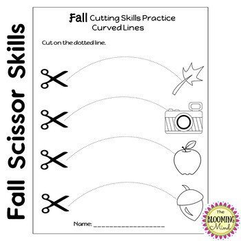 Cutting Practice Scissor Skills Worksheets {Fall}
