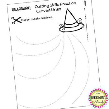 Cutting Practice Scissor Skills Worksheets {Halloween Theme}