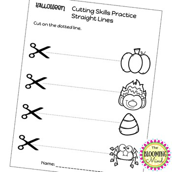 Cutting Practice Scissor Skills Worksheets Halloween Theme Tpt