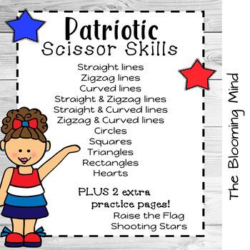 Cutting Practice Scissor Skills Worksheets {Patriotic}