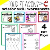Cutting Practice Scissor Skills Worksheets {Seasons FREEBIE}