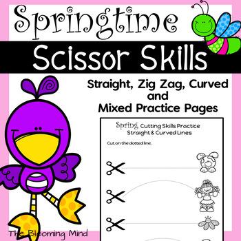 Cutting Practice Scissor Skills Worksheets {Spring}