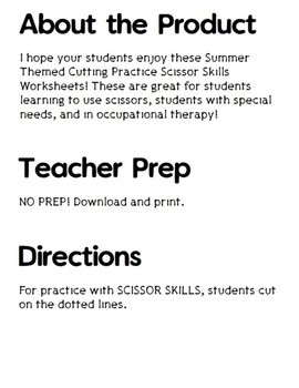 Cutting Practice Scissor Skills Worksheets {Summer}