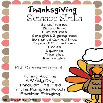 Cutting Practice Scissor Skills Worksheets {Thanksgiving}