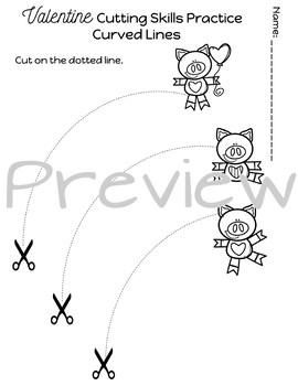 Cutting Practice Scissor Skills Worksheets {Valentine's Day}