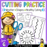 Cutting Practice Worksheets - 2D Shapes, Weather, Healthy Eating