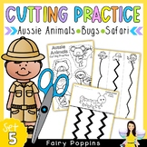 Cutting Practice Worksheets - Australian Animals, Bugs, Safari Animals