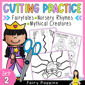 Cutting Practice Worksheets - Fairytales, Nursery Rhymes, Mythical Creatures