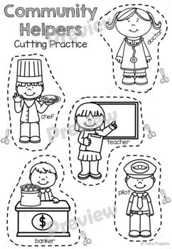Cutting Practice Worksheets - Farm Animals, Community Helpers, Transport