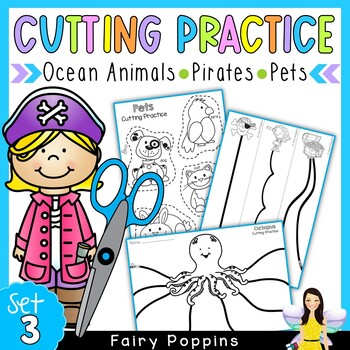 Cutting Practice Worksheets - Ocean Animals, Pirates, Pets