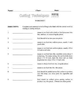 Cutting Techniques Used In Food Preparation Lesson