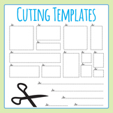 Cutting Templates - Dotted / Dashed Lines and Boxes Clip Art for Commercial Use