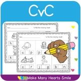 CvC Worksheets: Write the Missing Vowel