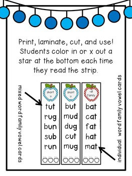 First Grade Phonics: CvC Fluency Strips