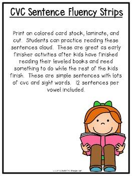 CvC Sentence Fluency Strips