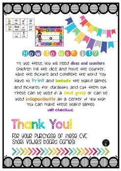 CvC Short Vowels Board Games