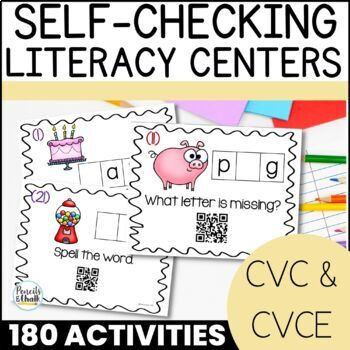 CvC Task Cards With QR Code Answers! {Bundle for All Five Vowels}