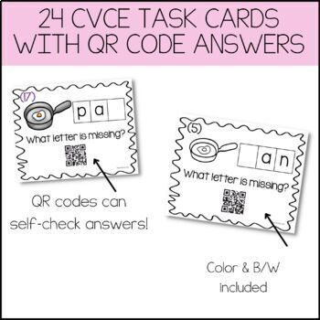 CvC Task Cards With QR Code Answers! {Medial A Vowel Pack}