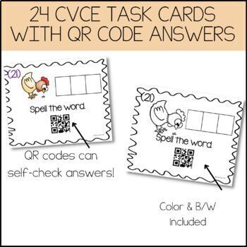 CvC Task Cards With QR Code Answers! {Medial E Vowel Pack}