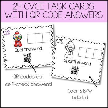 CvC Task Cards With QR Code Answers! {Medial U Vowel Pack}