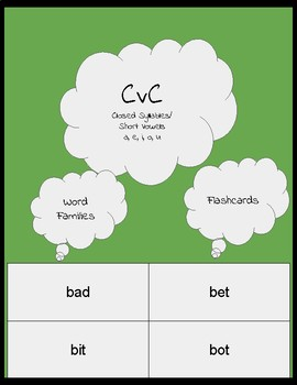 CvC short vowel flashcard/closed syllable/Orton-Gillingham word cards