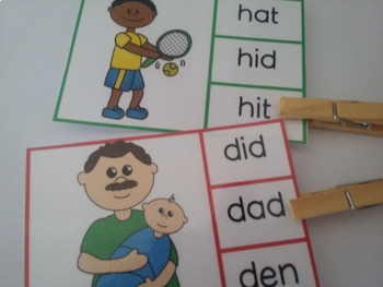 CVC clip cards (practice cvc words)