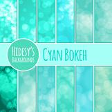 Cyan Bokeh / Glowy Lights Digital Paper / Backgrounds Clip Art Commercial Use