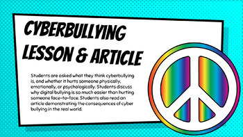 Cyber Bullying Lesson and Article