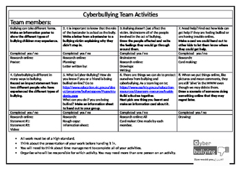 Cyber Bullying Team Activities