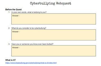 Cyber Bullying Web Quest
